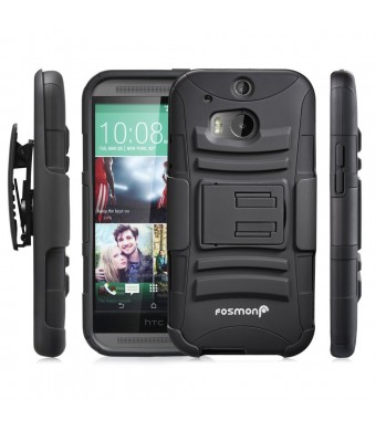 Fosmon STURDY Shock Absorbing Dual Layer Hybrid Holster Cover Kickstand Case for 2014 HTC One (M8) - Retail Packaging (Black)
