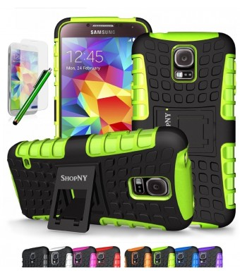 ShopNY Samsung Galaxy S5 Case-Heavy Duty Rugged Dual Layer Holster Case with Kickstand (Samsung Galaxy S5, Black) (GREEN)