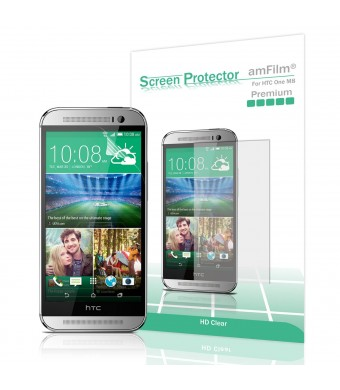 amFilm HTC One M8 Screen Protector 2014 (Verizon/ATandT/Sprint) Premium HD Clear (3-Pack) [Lifetime Warranty]