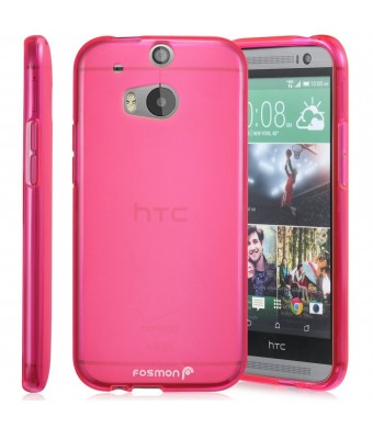 Fosmon DURA-FROST Smooth Durable and Flexible Slim Fit TPU Case Cover for 2014 HTC One (M8) - Retail Packaging (Hot Pink)
