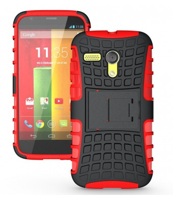 JKase DIABLO Series Tough Rugged Dual Layer Protection Case Cover with Build in Stand for Motorola Moto G SmartPhone - Retail Packaging (Red)