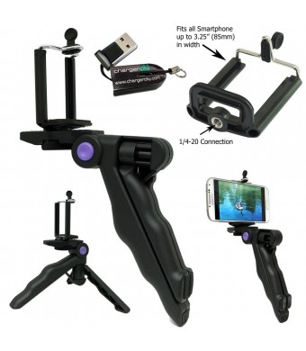 ChargerCity Multi-Use Handheld stabilizer Pistol Grip 1/4-20 Tripod Camera Recording Handle Mount with Universal Smartphone holder compatible w/ Appl