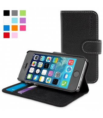 Snugg iPhone 5 / 5s Case - Leather Wallet Case with Lifetime Guarantee (Black) for Apple iPhone 5 / 5s