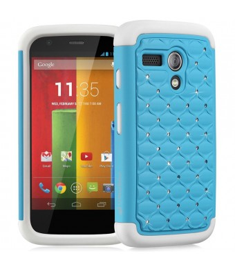Fosmon HYBO-SD Series Hybrid Bumper Diamond Bling Case for Motorola Moto G (1st Generation Only) / Motorola DVX - Retail Packaging (Sky Blue / White)