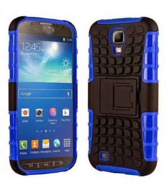 Galaxy s4 Case, Galaxy s4 Armor cases- [DragonSkin?] Tough Armorbox Dual Layer Hybrid Hard/Soft Protective Case by Cable and Case - Blue Armor Case