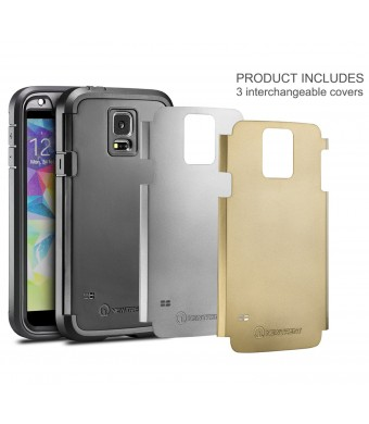 Galaxy S5 Case, New Trent Trentius Rugged Case for the Samsung Galaxy S5 [Black/Silver/Gold Interchangeable Back Plates Included]