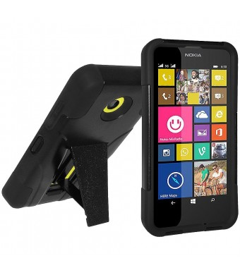 Amzer Double Layer Hybrid Case Cover with Kickstand for Nokia Lumia 635/630 - Retail Packaging - Black