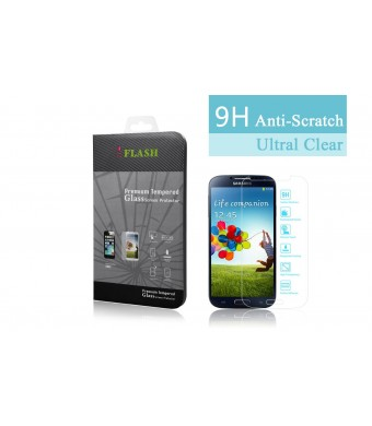 iFlash Premium Tempered Glass Screen Protector: Crystal Clear and Bubble Free 0.3mm thickness edition - For Samsung Galaxy S4/i9500 - Retail Packaging