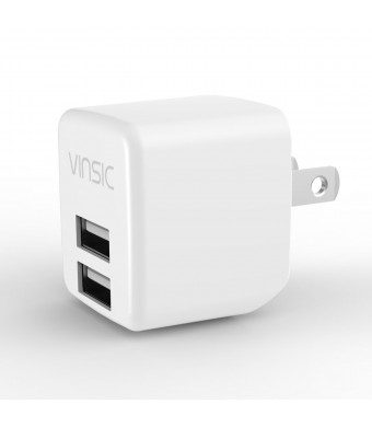 USB Charger, Vinsic 2.4A USB Charger 12W Dual USB Wall Charger for iPhone 5 5s 5c, iPad, samsung galaxy, and Android or USB Devices (White)