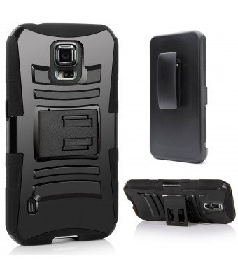 Galaxy S5 Active Case, S5 Active Holster Case By E LV - Full Body Hybrid Armor Protection for Samsung Galaxy S5 Active G870 with Backstand and Belt S