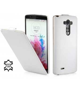 StilGut UltraSlim Genuine Leather Case for LG G3, White