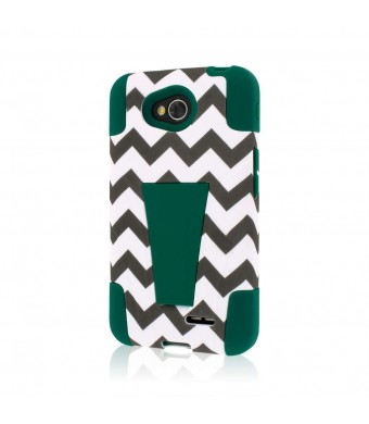 MPERO IMPACT X Series Kickstand Case for LG Optimus L70 / Realm - Teal Chevron