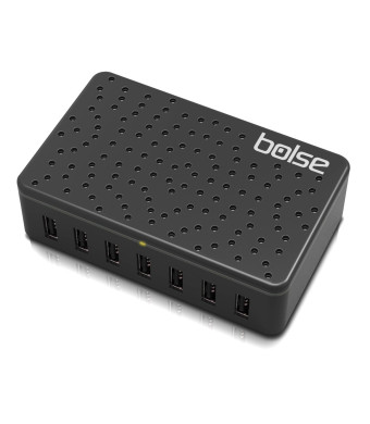 Bolse 60W / 12-Amp 7-Port Fast Charging USB Wall / Desktop Charging Station With SmartIC Technology - Full Speed Charging for iPhone 5, iPad, Samsung