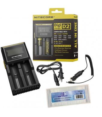 Bundle:Nitecore D2 Digicharger 2015 New Version with LCD Display Universal Smart Charger For Rechargeable Batteries IMR/Li-ion/LiFePO4/Ni-MH/Ni-Cd 18