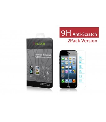 iFlash 2 Pack of Premium Tempered Glass Screen Protector For Apple iPhone 5/5S/5C - Protect Your Screen from Scratches and Bubble Free - Maximize You
