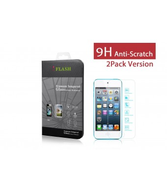 iFlash 2 Pack of Premium Tempered Glass Screen Protector For Apple iPod Touch 5th Generation - Protect Your Screen from Scratches and Bubble Free - M