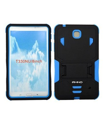 [iRhino] TM BLACK-blue Heavy Duty rugged impact Hybrid Case cover with Build In Kickstand Protective Case For Samsung galaxy Tab 4 8.0 inch T330 Tabl