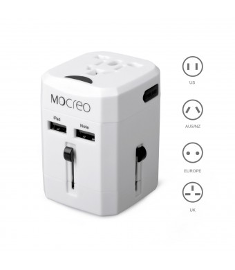 MOCREO Universal World Wide All-in-one Safety Travel Charger Wall Charger Adapter Plug Built-in Dual USB Ports (White)