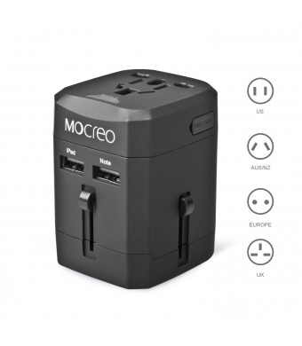 MOCREO Universal World Wide All-in-one Safety Travel Charger Wall Charger Adapter Plug Built-in 2.1A Dual USB Ports - Safety fuse Protection (Black)