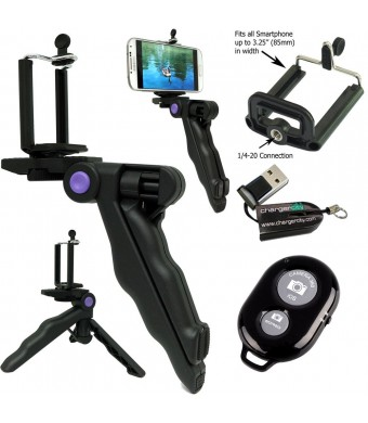 ChargerCity Selfie Photo Booth Kit w/Multi-Use Handheld Pistol Grip 1/4-20 Tripod Camera Handle Mount, Bluetooth Wireless Remote Shutter Control and
