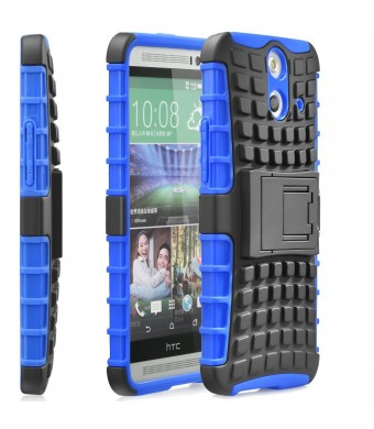 Fosmon [RUGGED] HTC One (E8) 2014 Case - HYBO-RAGGED Heavy Duty Hybrid Protective Cover with Kickstand (Blue / Black)