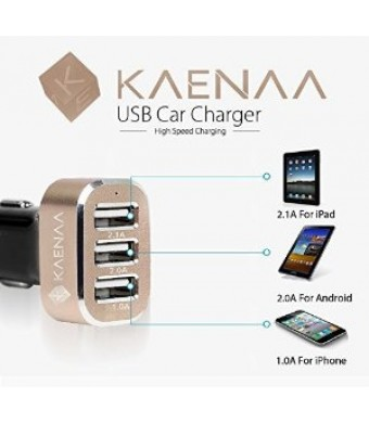 KAENAA™ [Lifetime Warranty] 3 USB Port Car Charger-[Black / Gold] 5.1 A/25.5 W Portable External Travel Charger Car Charger Extended Battery Pack Cha