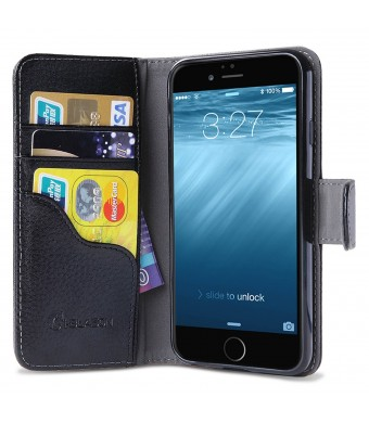 iPhone 6 Case, i-Blason Apple iPhone 6 Case 4.7 Inch Slim Leather Wallet Book Cover with Stand Feature and Credit Card ID Holders for iPhone 6 (Black)