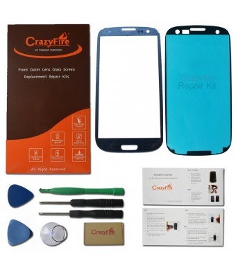 US Stock CrazyFire Free Shipping Pebble Blue New Front Outer Lens Glass Screen Replacement For Samsung Galaxy S3 SIII I9300 i747 L710 T999 i535+Adhes