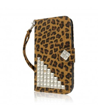 BLU Studio 5.5 Wallet Case, MPERO FLEX FLIP Wallet Case for BLU Studio 5.5 - Studded Leopard
