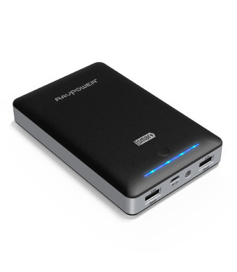 RAVPower Portable Charger 16000mAh External Battery Pack Power Bank with iSmart Technology (3rd Gen Deluxe, 4.5A Output, Dual USB, Apple 30pin and Li