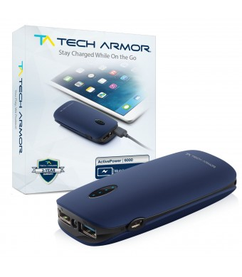 Tech Armor ActivePower 6000mAh External Battery Portable Dual USB Charger Power Bank - Fast Charging, High Capacity, Ultra Compact.