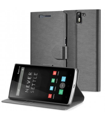 OnePlus One Wallet Case - GreatShield [SHIFT LX] Slim Leather Flip Cover Case for OnePlus One (Black)