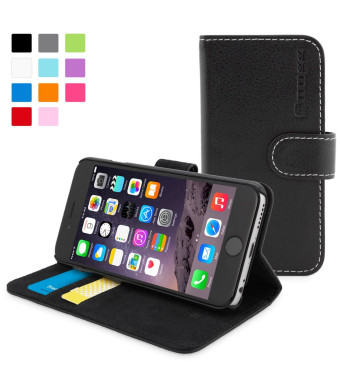 Snugg iPhone 6 Case - Leather Wallet Case with Lifetime Guarantee (Black) for Apple iPhone 6