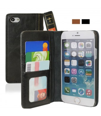iPhone 6+ Case, KHOMO [Book Collection] - Vintage Book Style Wallet Leather Cover for Apple iPhone 6 + PLUS 5.5'' - Black