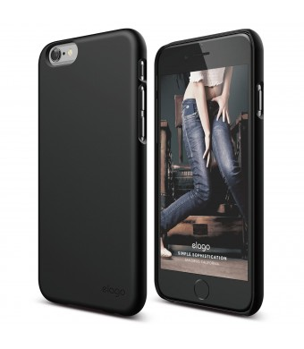 iPhone 6 Case, elago S6 Slimfit2 Case for the iPhone 6 (4.7inch) - eco friendly Retail Packaging (Soft feel Black) - Made in Korea