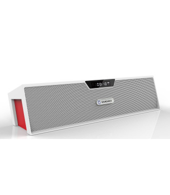 Soundance Portable Wireless Bluetooth Stereo Speaker with Dual Speakers and Enanced Bass Resonator, FM Radio, Built-in Mic, LED Display, Alarm clock,