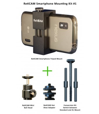 RetiCAM Smartphone Mounting Kit #1 - Smartphone Tripod Mount (Standard Size with XL Conversion Kit), Mini Ball Head and Hot Shoe Adapter
