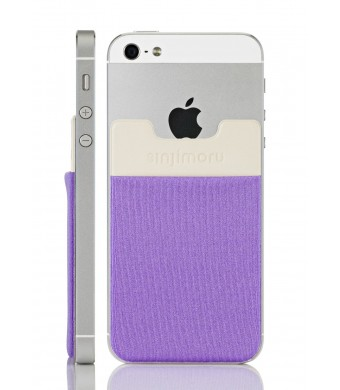 Sinjimoru Sinji Pouch B3 Adhesive accessory pocket for all iPhone, Samsung and Android smart phones (Light Violet)