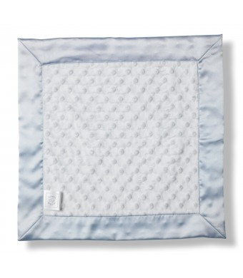 SwaddleDesigns Baby Lovie, Plush Dots Security Blanket with Color Trim, Pastel Blue
