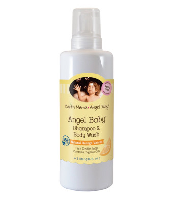Earth Mama Angel Baby Body Wash and Shampoo Pure Castile Vanilla Orange Soap for Every Body Liter 34oz