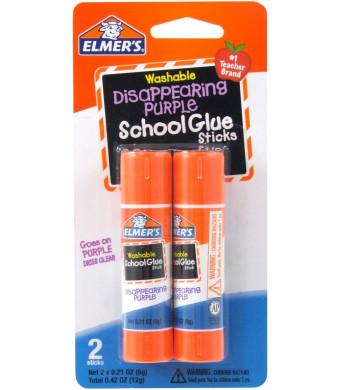 Elmer's Disappearing Purple School Glue Sticks, 0.21 oz, Pack of 2 (E522)
