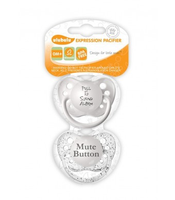 Ulubulu Pacifier Set, Pull to Sound Alarm and Mute Button, 0-6 Months