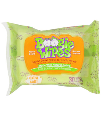 Boogie Wipes Saline Nose Wipes, Fresh Scent, 30-Count (Pack of 6)