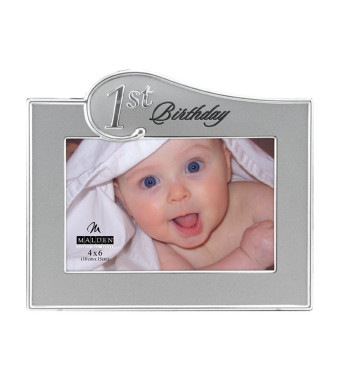 Malden 1st Birthday Two Tone, 4 x 6 inch Picture Frame, Sliver