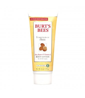 Burt's Bees Fragrance Free Shea Butter and Vitamin E Body Lotion, 6 Ounces (Pack of 3)