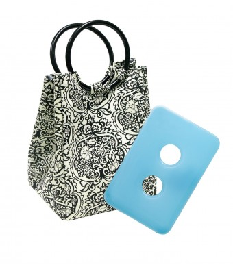 Fit and Fresh Ladies Retro Insulated Lunch Bag with Reusable Ice Pack, Magnetic Snap, Black and White Damask