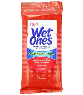 Wet Ones Antibacterial Hand Wipes Travel Pack, 15-Count (Pack of 12)(colors may vary)