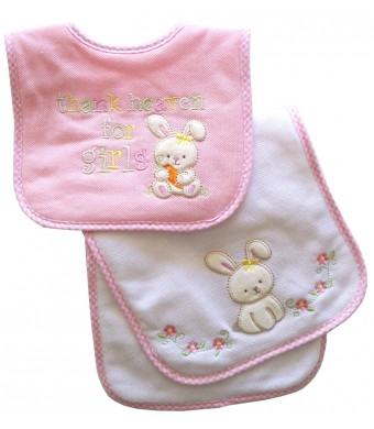 Neat Solutions Appliqued Thank Heaven for Girls Cotton Pique/ Knit Terry Bib and Burpcloth Set