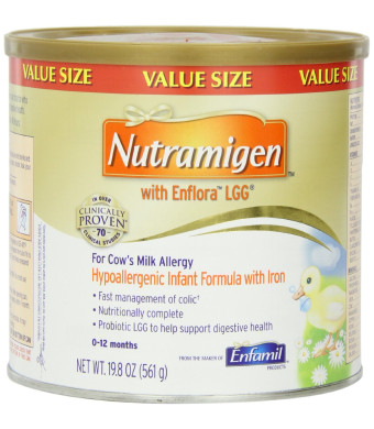 Nutramigen with Enflora LGG for Cows Milk Allergy, Hypoallergenic Formula With Iron, Powder Can, 0-12 Months, 19.8 Ounce
