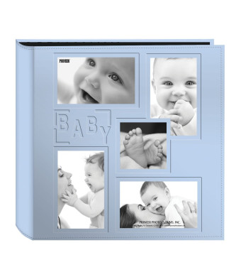 """Pioneer Collage Frame Embossed """"Baby""""  Sewn Leatherette Cover Photo Album, 4"""" x6"""" , 240 Photos, Baby Blue"""